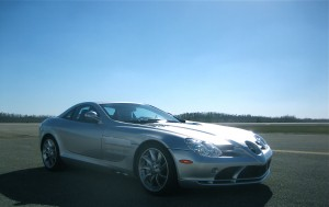 The Mercedes SLR McLaren, ready for superspeeds at (before it broke down)