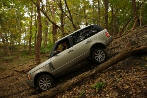 Lean-to: Sliding down the hill in a Range Rover