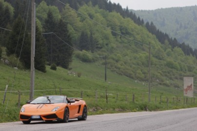 Alps, Italian style: Lambo outside of the Dolomites.